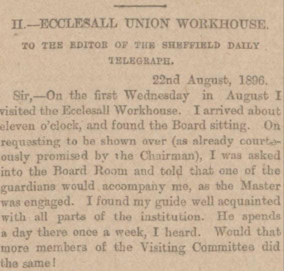 Ecclesall Bierlow Workhouse - newspaper report.