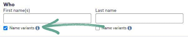 Name variant tool on Findmypast