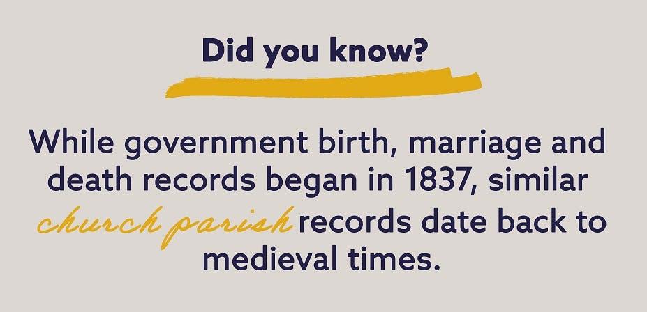 When did birth records start in Britain?