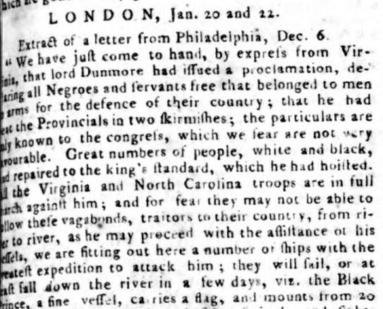 Lord Dunmore martial law proclamation reported in newspapers.