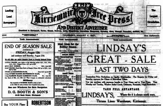 Kirriemuir Free Press and Angus Advertiser archives