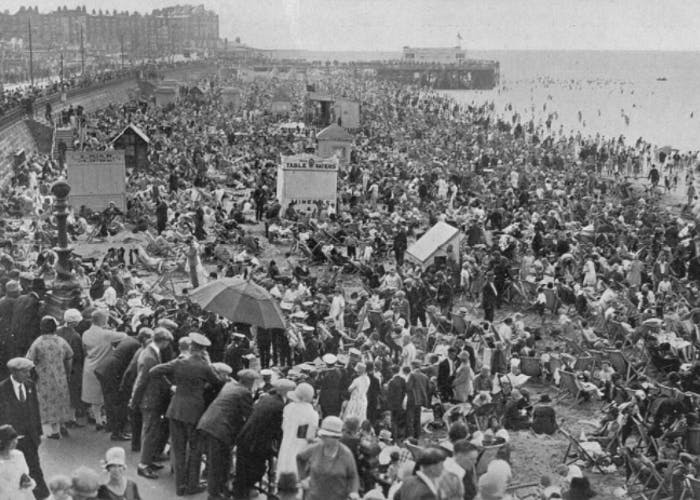 Vintage photo of Margate beach.