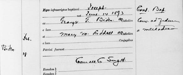 Joe Biden's grandfather's baptism record