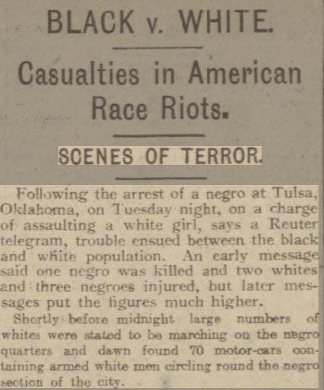 Tulsa Massacre - newspaper reports at the time