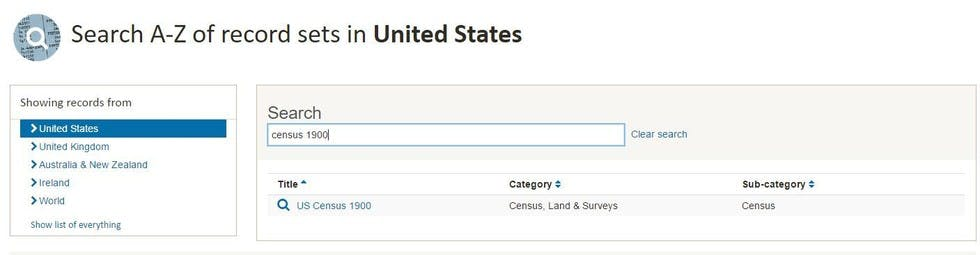 """Use """"Census"""" plus the year you're looking for in the search box"""