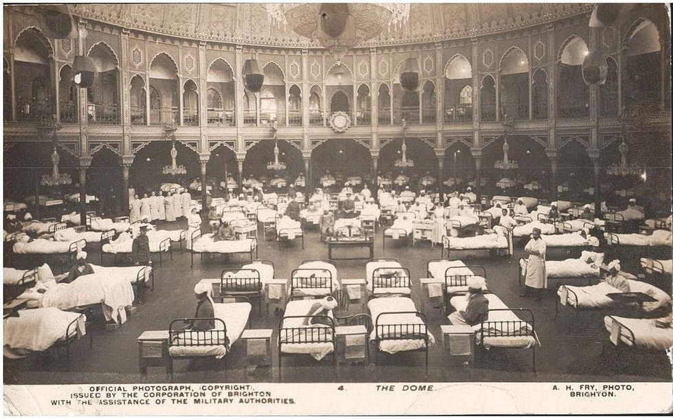 hospital inside The Dome of the Royal Pavilion, Brighton - May 1915