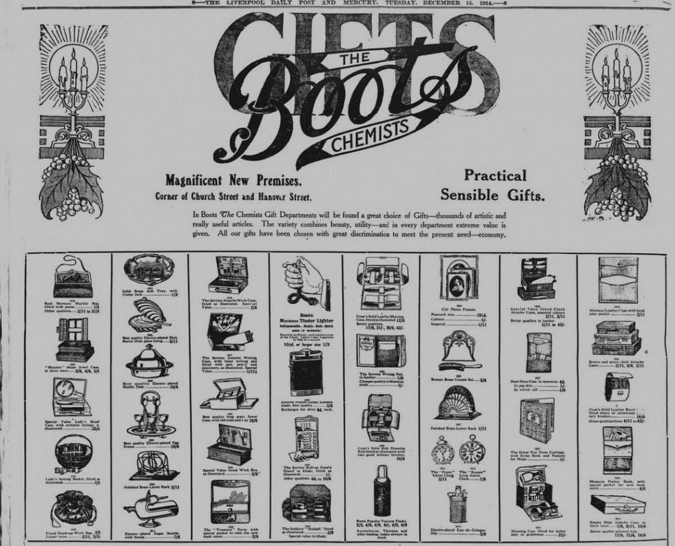 Boots Christmas ad 1914
