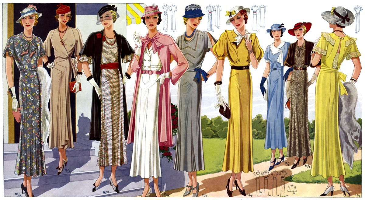 A coloured fashion illustration showing nine women wearing various fashionable dresses.