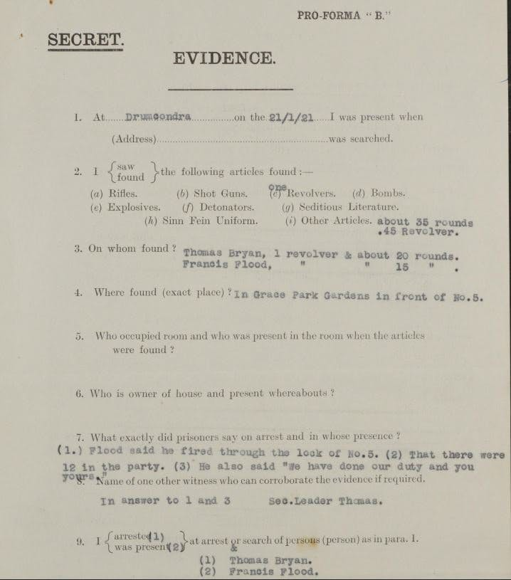 Thomas appears in a search and raid report found in our collection of Easter Rising and Ireland Under Martial Law records.