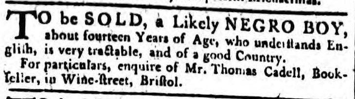 Slave adverts in old newspapers