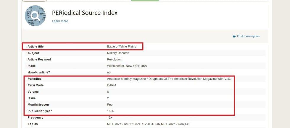 Periodical source index