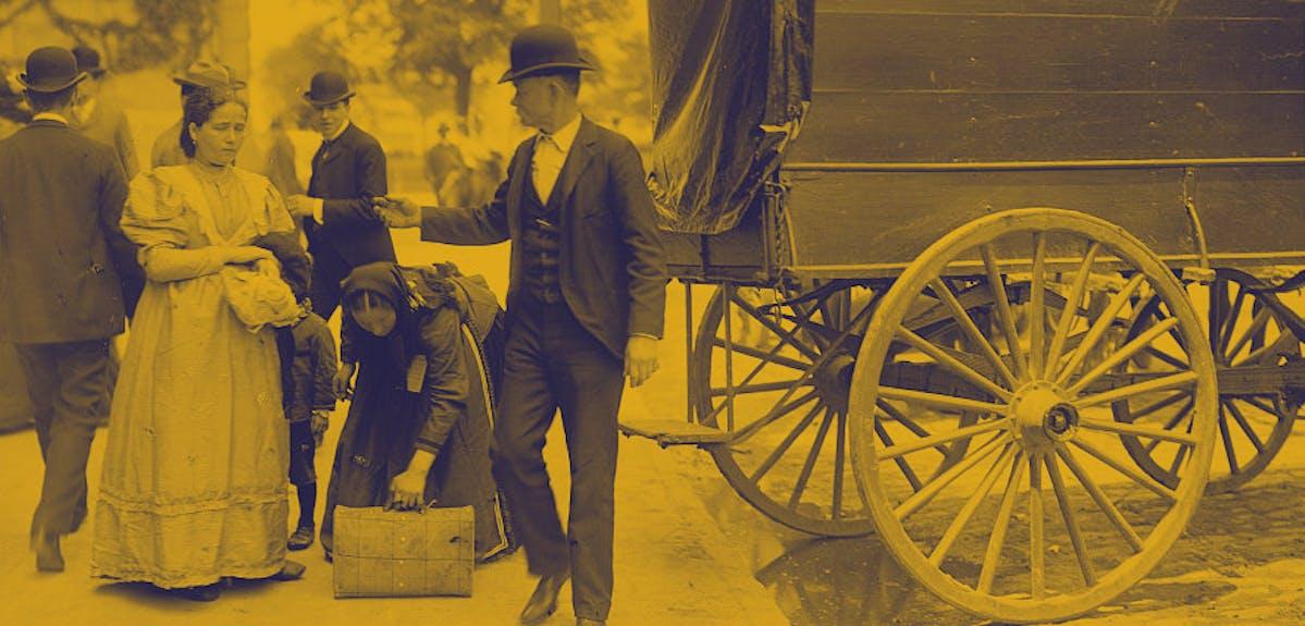 Immigrant ancestors disembarking boat
