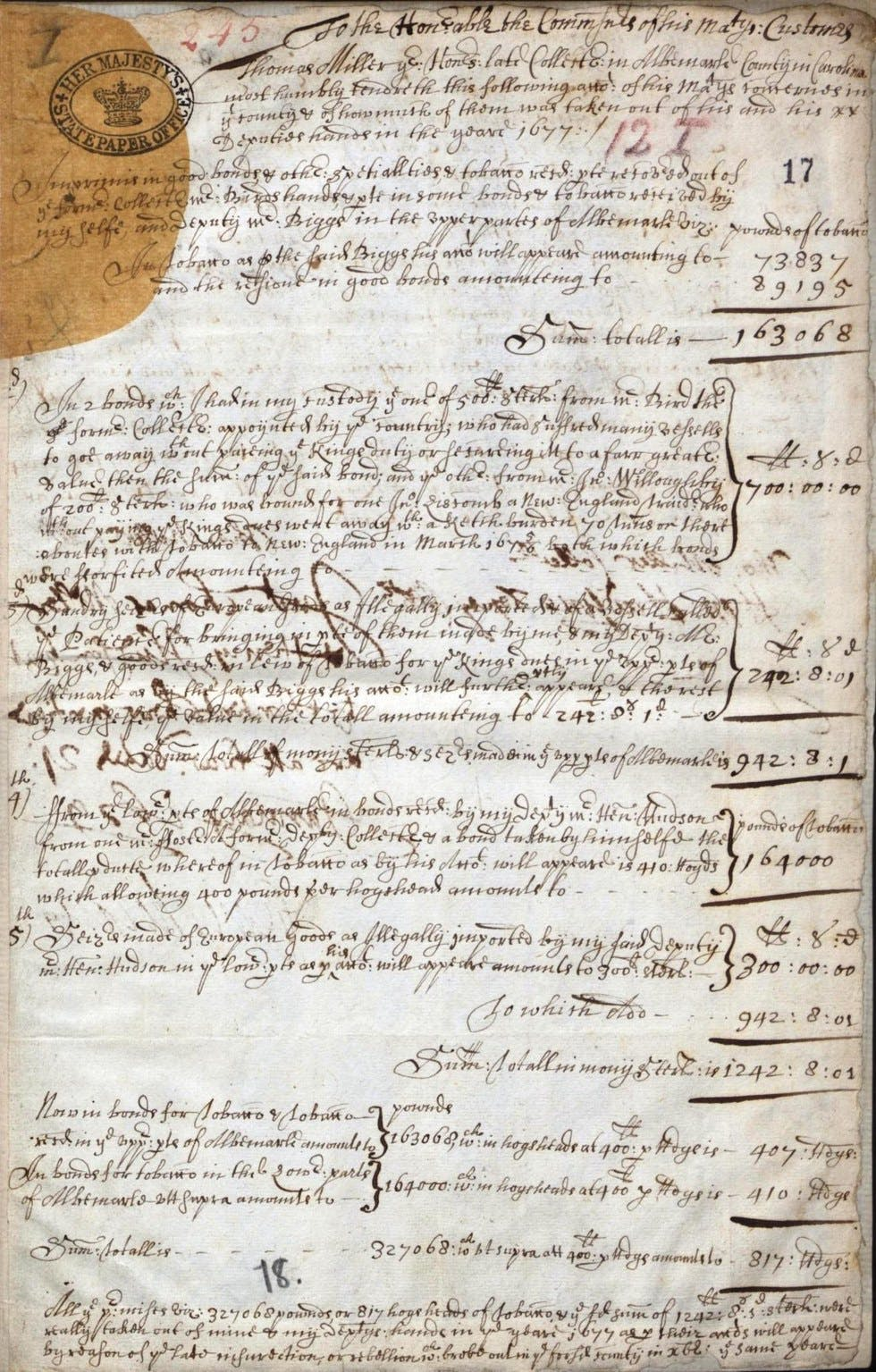 An example of ink bleeding through from the other side, Early Immigration to Barbados, http://findmypast.com, subscription database, accessed June 2017.