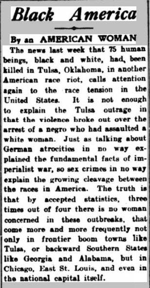 Contemporary reports of Tulsa massacre