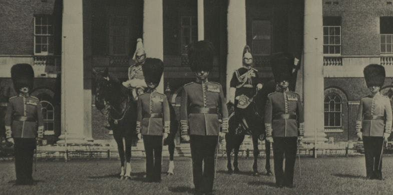 Guards at the Queen's official birthday parade, 1969