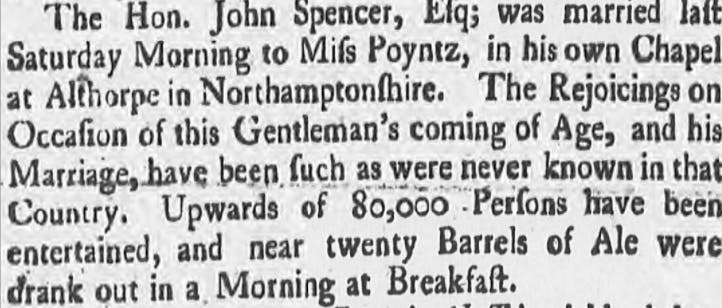 Diana's ancestor John, 1st Earl Spencer, married Margaret Poyntz in 1755.