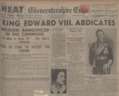 King Edward VIII's abdication - newspaper report