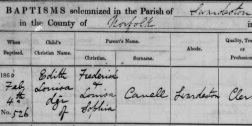 Edith Cavell baptism record