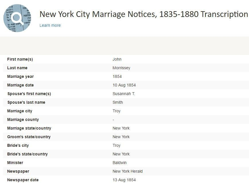 Findmypast U.S. Marriages