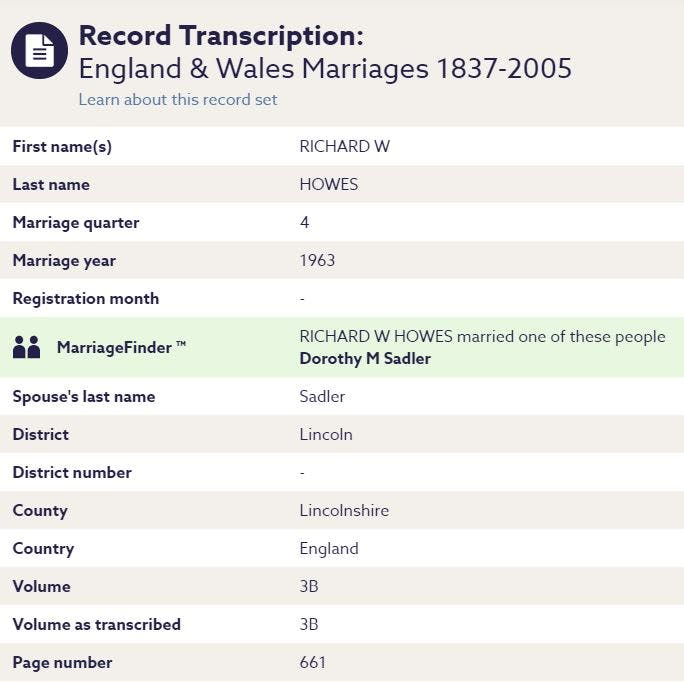 Findmypast marriage record