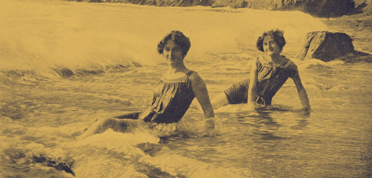 Vintage photo of women on holiday at the seaside