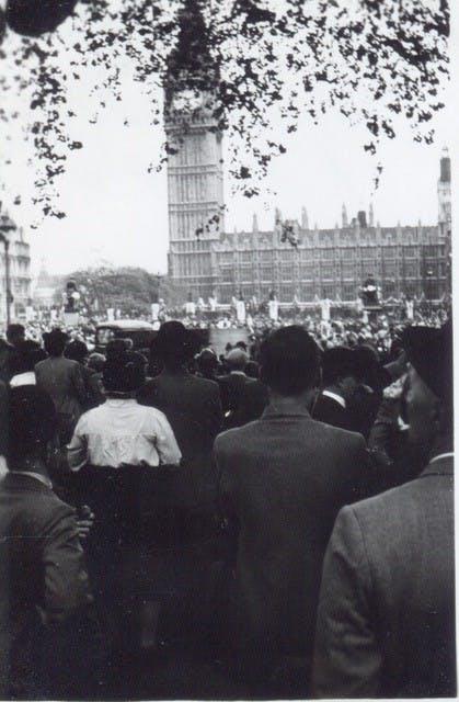 Big Ben on VE Day, 1945.
