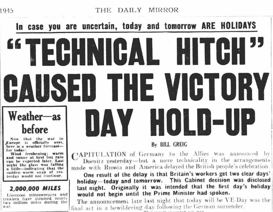 VE Day newspaper headlines
