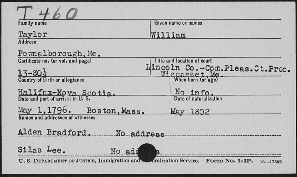 The information included on our New England Naturalizations can prove invaluable