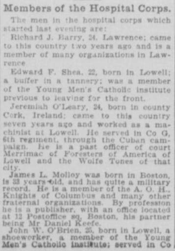 Born in Cork, arrived in the US in 1893, is 24 years old. Also, his profession and the regiments/conflicts in which he served!