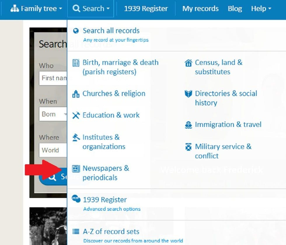 """Our newspaper search is located in the """"search"""" dropdown menu found at the top of every page on our site. Remember - """"search all records"""" does NOT include newspapers. You must search that specific category."""