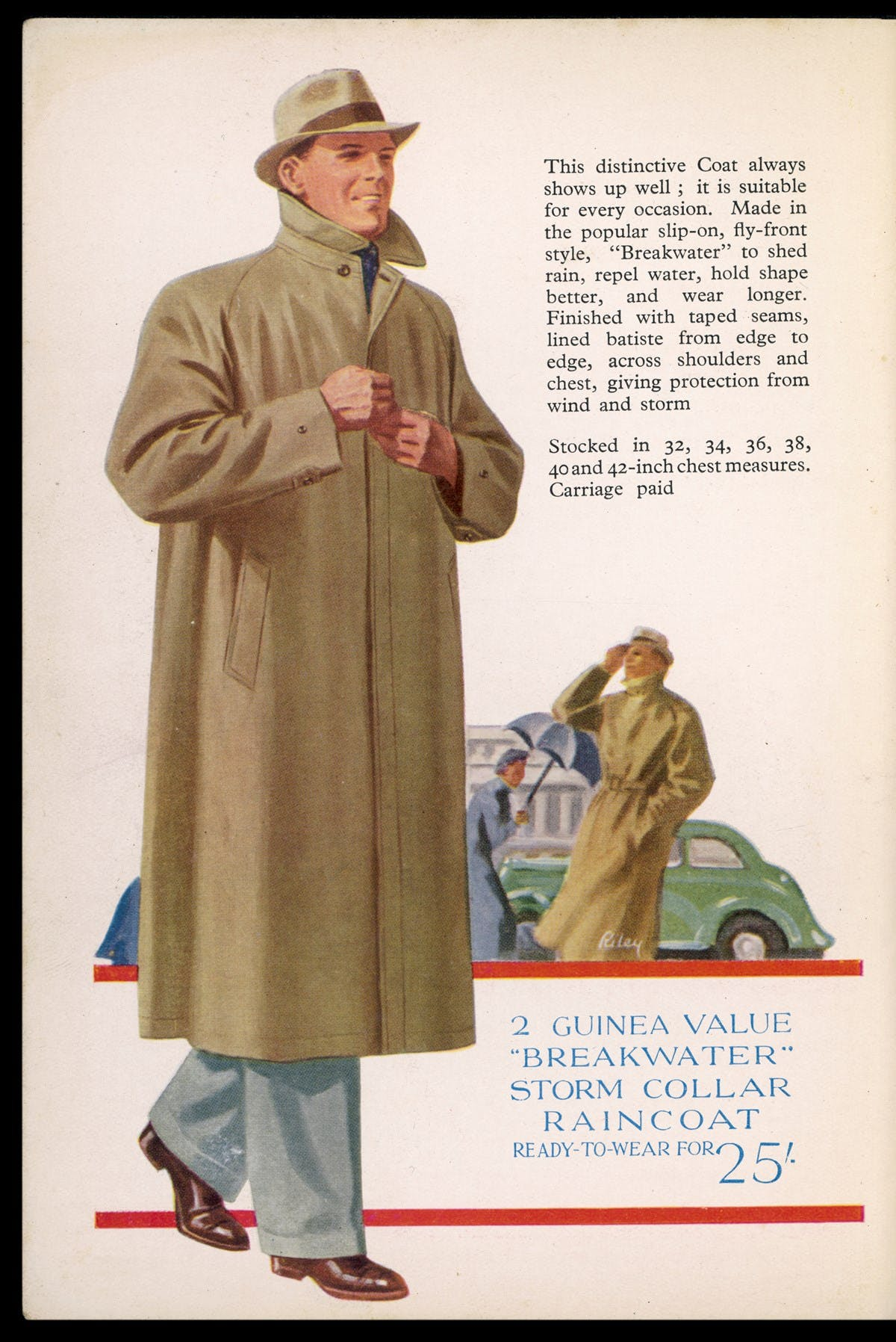 A full page illustrated advertisement showing a man wearing a light brown raincoat.