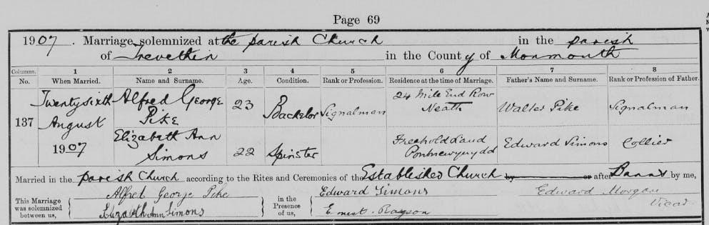 Gareth Bale's ancestor's marriage record
