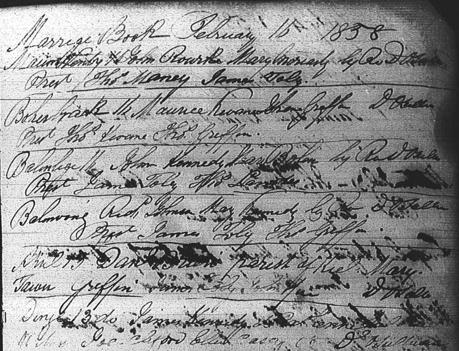 Hard-to-read handwriting, Marriage Book, Dingle, County of Kerry, Catholic Parish Registers at the National Library of Ireland, http://registers.nli.ie, accessed June 2017.