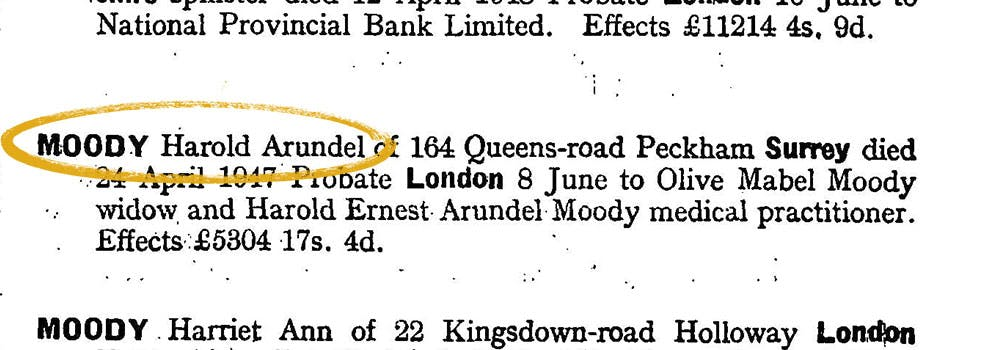 Dr Harold Moody lived in Peckham, London.