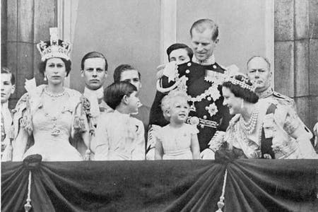 queen elizabeth ii, prince philip, prince charles, princess anne and the queen mother on coronation day