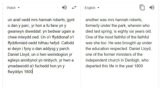 Google translate Welsh