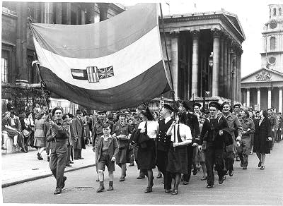 Allied Troops on VE Day, 1945