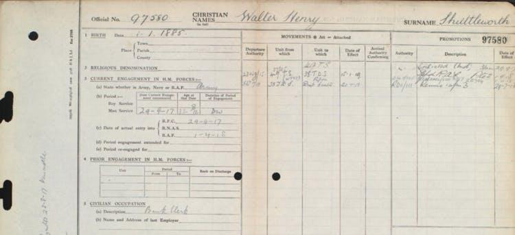 Walter's RAF service record.