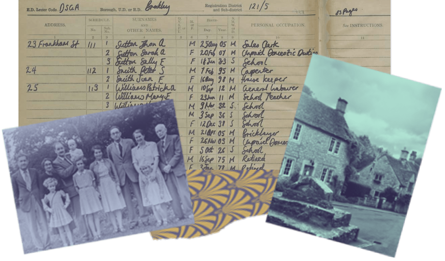 Collage of documents and photos