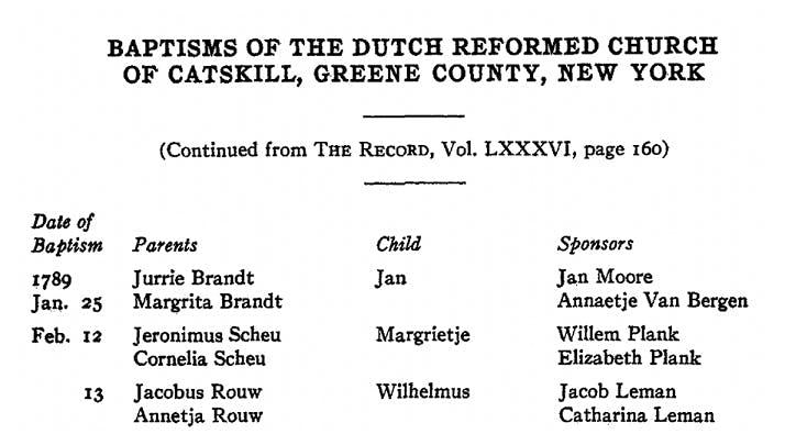 Baptism records, Catskill, New York