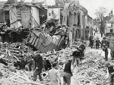 During the war it was common for entire streets to be demolished