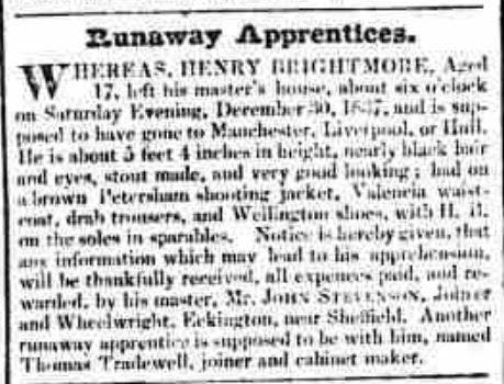 Found in Sheffield Iris January 9, 1838 newspaper