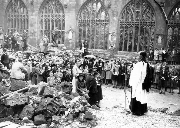 VE Day service in Coventry Cathedral, 1945