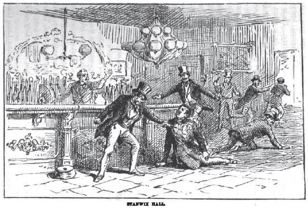 An illustration of Baker shooting Bill the Butcher in Stanwix Hall