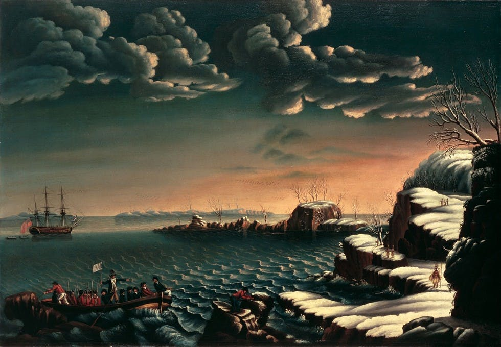 Landing of the Pilgrims by Michele Felice Corne, 1805.