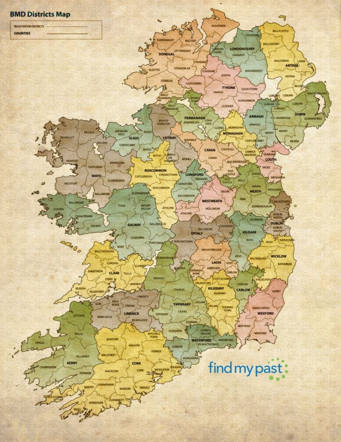 Ireland registration district map