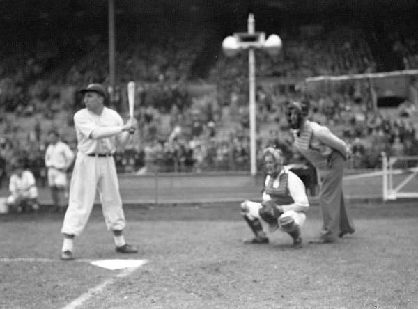 Canada vs USA, baseball game, Wembley Stadium, England, 1942