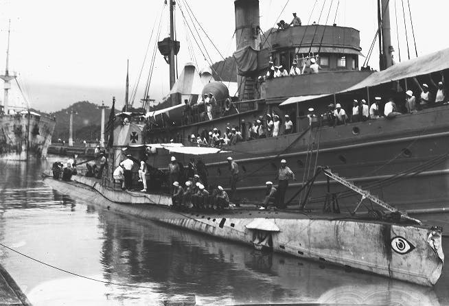 USS Bittern with UB88 captured German U-Boat at Pedro Miguel Panama Canal August 1919