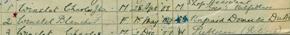 The Winslet family in the 1939 Register