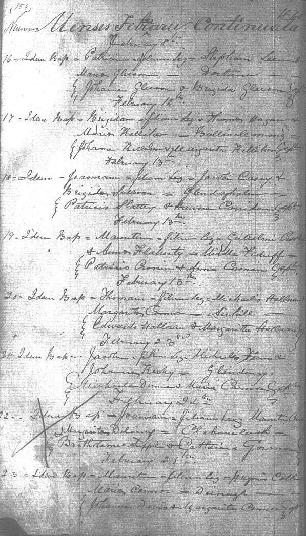 Baptismal record in Latin, Ballyheigue, County of Kerry, Catholic Parish Registersat the National Library of Ireland, http://registers.nli.ie, accessed June 2017.